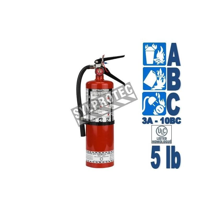 Extincteur portatif à poudre 5 lbs, classe ABC, ULC 3A-40BC, avec crochet mural.