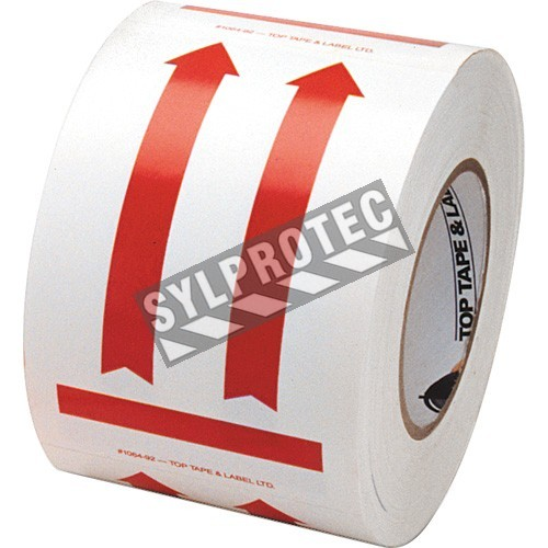 "Label ""DIRECTIONAL ARROW RED"" 4 in x 6 in, roll  of 500. Allow to indicate the direction to move the box during shipping."