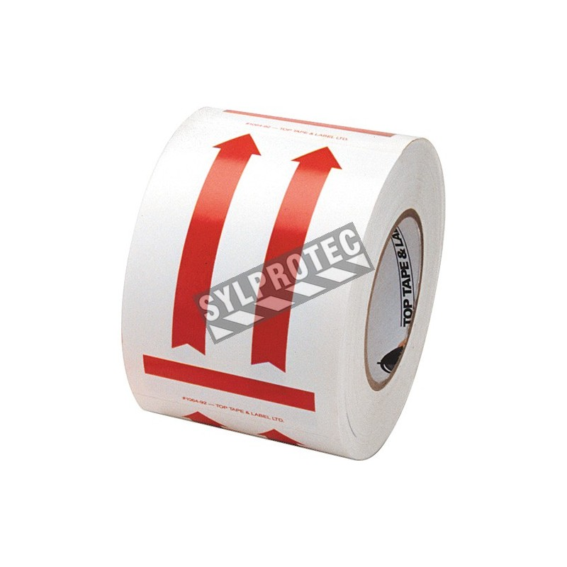 """Label """"DIRECTIONAL ARROW RED"""" 4 in x 6 in, roll  of 500. Allow to indicate the direction to move the box during shipping."""