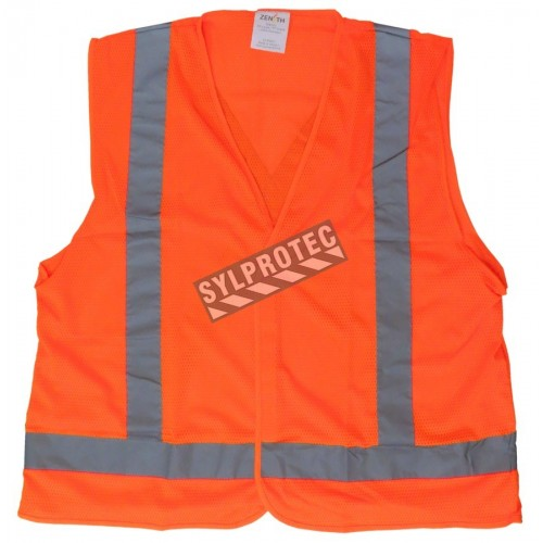Veste de circulation en maille orange fluo, CSA Z96 classe 2 niveau 2.