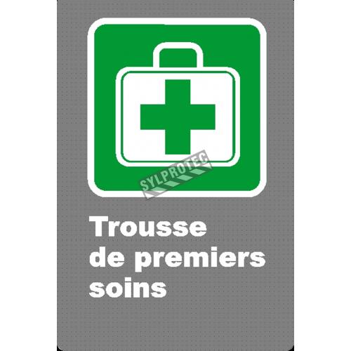 Affiche CSA «Trousse de premiers soins» en français, formats & matériaux divers, d'autres langues & éléments optionnels