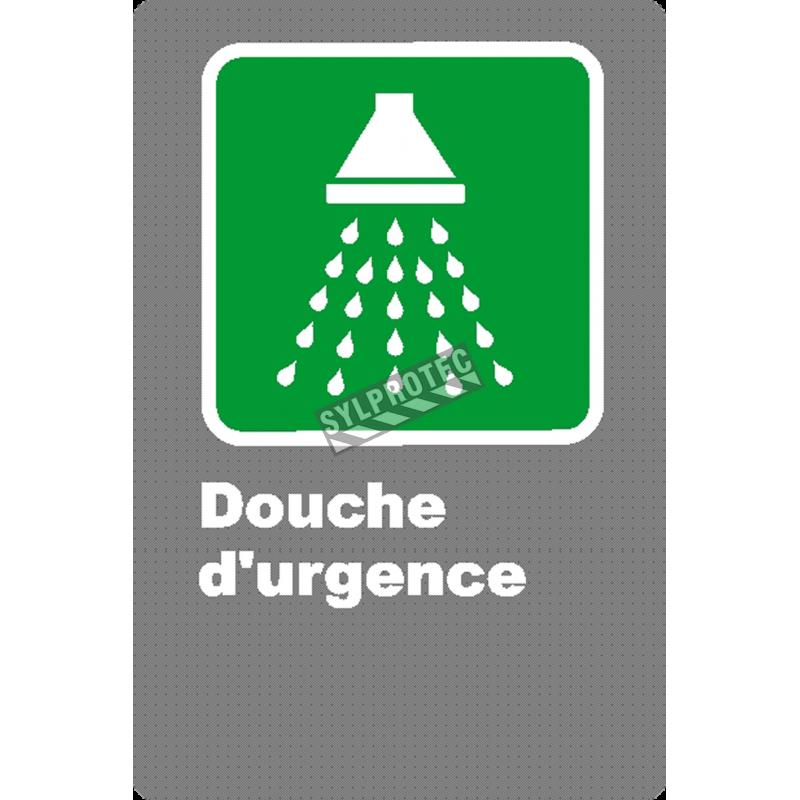 Affiche CSA «Douche d'urgence» en français, formats & matériaux divers, d'autres langues & éléments optionnels