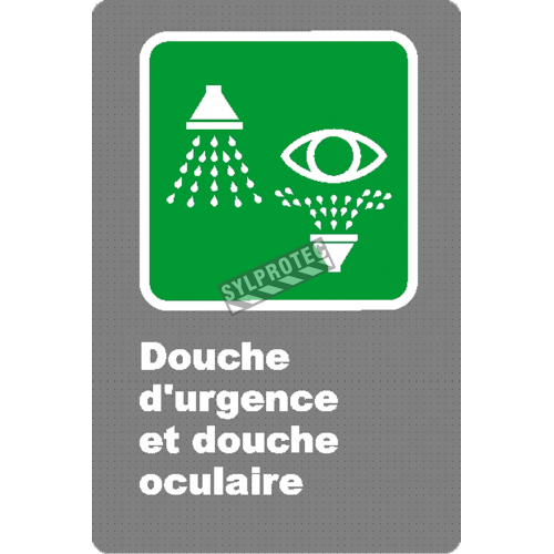 "French CSA ""Emergency Shower and Eyewash"" sign in various sizes, shapes, materials & languages + options"