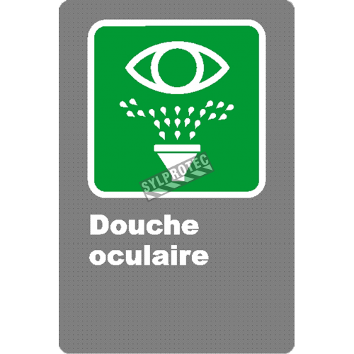 "French CSA ""Emergency Eyewash"" sign in various sizes, shapes, materials & languages + optional features"