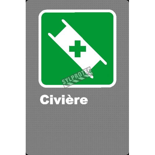 Affiche CSA «Civière» en français, formats & matériaux divers, d'autres langues & éléments optionnels