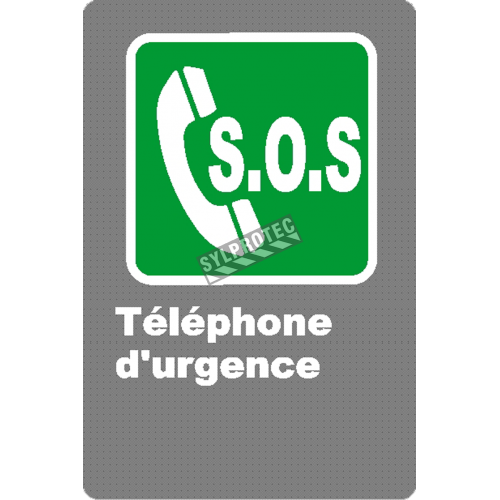 """French CSA """"S.O.S. Emergency Phone"""" sign in various sizes, shapes, materials & languages + options"""