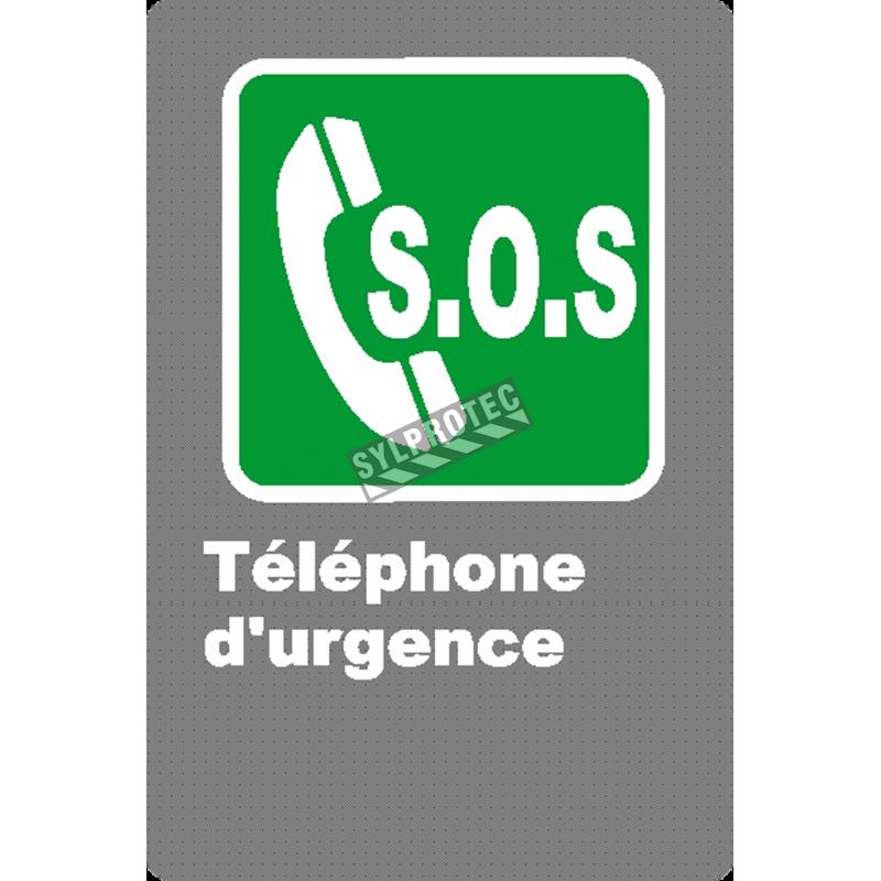 Affiche CSA «S.O.S. Téléphone d'urgence» en français: divers formats, matériaux, langues & options