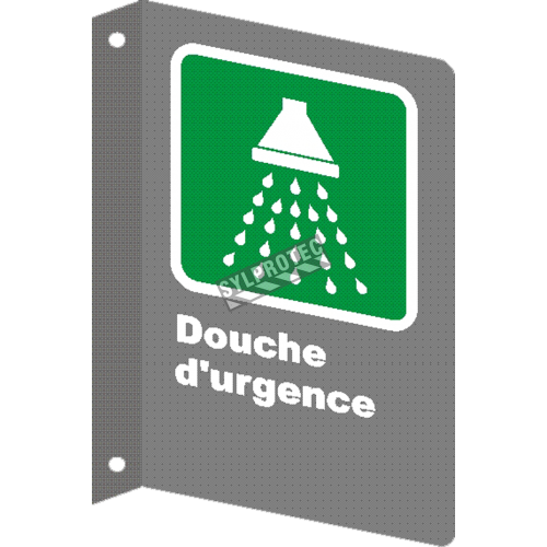 "French CSA ""Emergency Shower"" sign in various sizes, shapes, materials & languages + optional features"