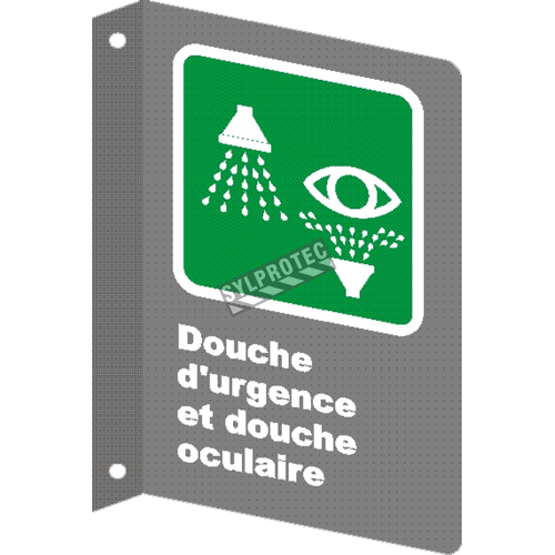 """French CSA """"Emergency Shower and Eyewash"""" sign in various sizes, shapes, materials & languages + options"""