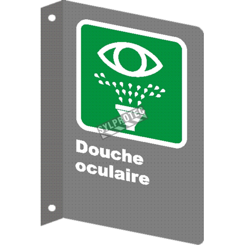 Affiche CSA «Douche oculaire» en français, formats & matériaux divers, d'autres langues & éléments optionnels