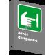 Affiche CSA «Arrêt d'urgence» en français, formats & matériaux divers, d'autres langues & éléments optionnels