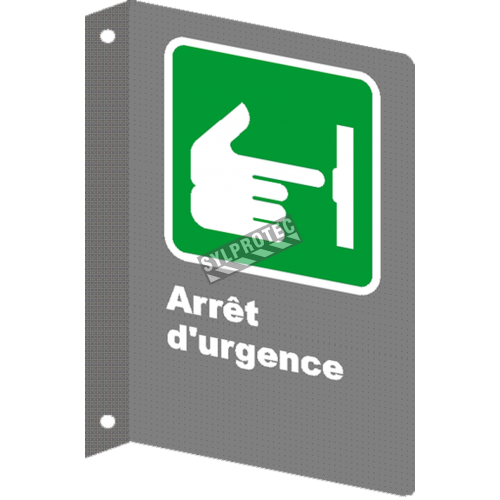 "French CSA ""Emergency Stop"" sign in various sizes, shapes, materials & languages + optional features"