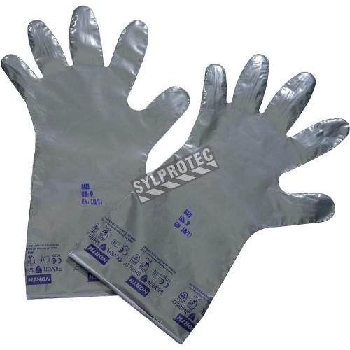 Gants Silver Shield ambidextres sans poudre de 2,7 mils d'épaisseur pour protection chimique. Vendu à la boite. 50 paires/boite.