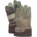 Cost-effective split-leather & cotton-knit gloves with tough cuffs & thin cotton liner. Men's one-size-fits-all. Sold in pairs.