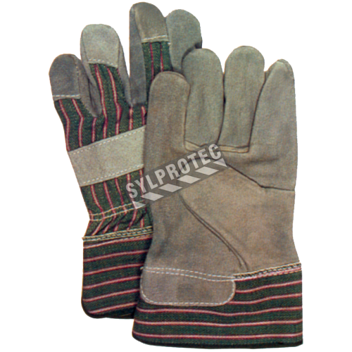 Split leather palm, lining, rubber cuffs