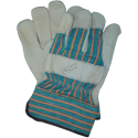 High quality cowhide and cotton knit gloves equipped with tough cuffs. Men's one-size-fits-all. Sold in pairs.