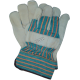 Cowhide work gloves with cotton backing, lining and wide rubberized cuffs.