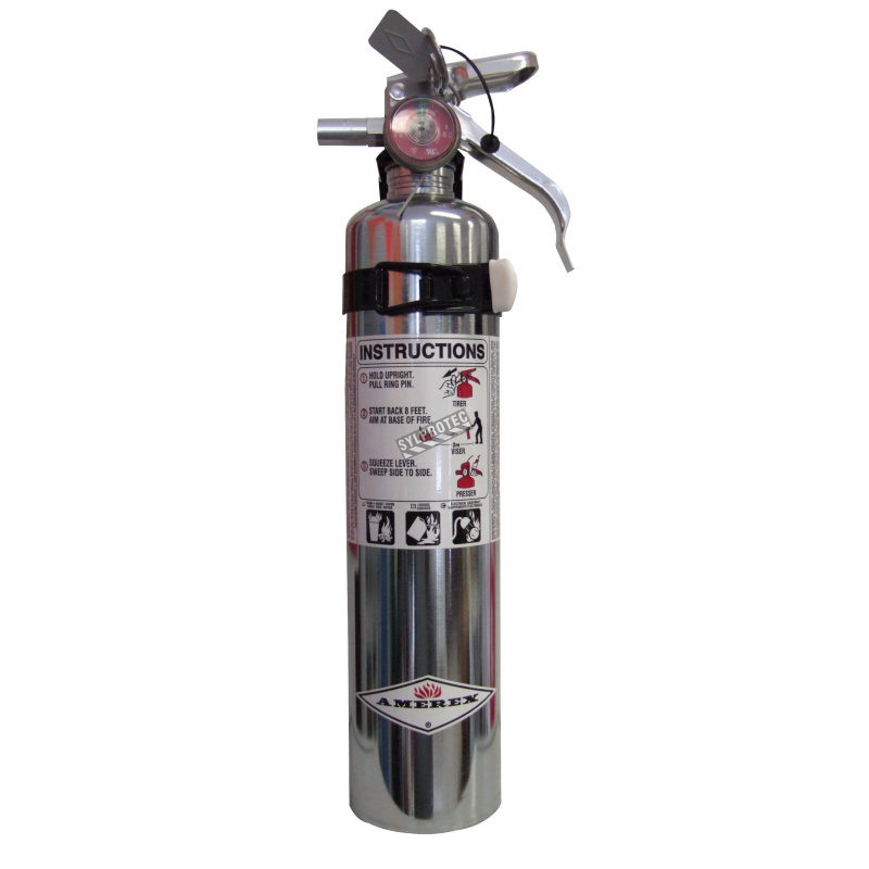 chromed fire extinguisher 2 5 lbs type abc ulc 1a 10bc vehicle hook. Black Bedroom Furniture Sets. Home Design Ideas