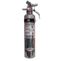 Portable fire extinguisher with powder, chromed, 2.5 lbs type ABC, ULC 1A-10BC, with vehicle hook.