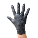 Powder-free black nitrile gloves of thickness 6 mils. Size: S (7) to XXL (11). Sold per box, 100 units/box.