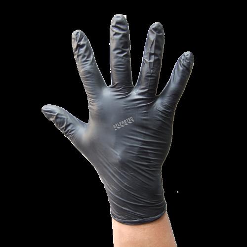 Gant ambidextre en nitrile noir de 6 mils sans poudre. NQA de 1,5 octroyé par l'ONGC. Taille: petit (7) à XX-large (11).