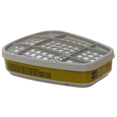 Cartouche pour vapeurs organiques, gaz acides & multi-gaz de 3M, compatible avec  protection respiratoire de séries 6000 & 7500