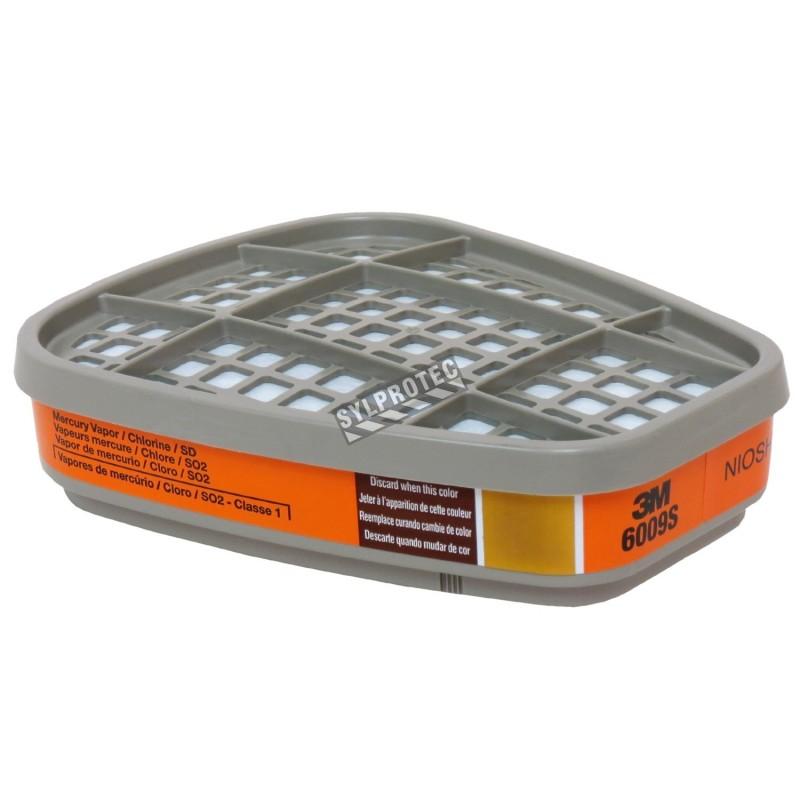 Cartouche 3M contre vapeur du mercure & gaz chlorhydrique, compatible avec masque de protection respiratoire séries 6000 & 7500