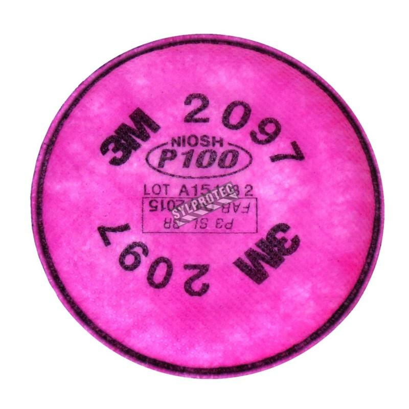 3M 2097, P100 filter for half & full facepiece respirators series 6000, 7000 & FF-400. NIOSH approved. Sold in pairs.