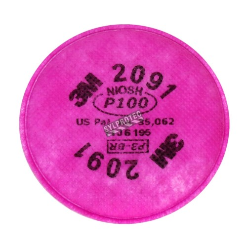 3M 2091 P100 filter for half & full facepiece respirators series 6000, 7000 & FF-400. NIOSH approved. Sold in pairs.