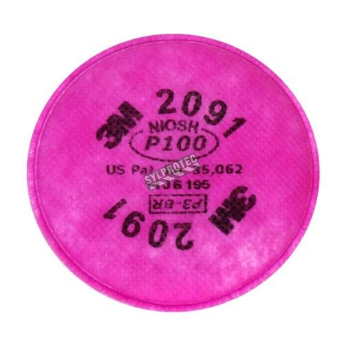 Filtre P100 pour masque de protection respiratoire série 6000, 7500 & Ultimate FX de 3M. Homologué NIOSH & CSA Z94.4. 2 unités.