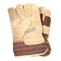 Cost-effective split-leather & cotton-knit gloves with safety cuffs & thin cotton liner. Men's one-size-fits-all. Sold in pairs.