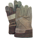 Cost-effective split-leather and cotton knit gloves equipped with tough cuffs. Women's one-size-fits-all. Sold in pairs.