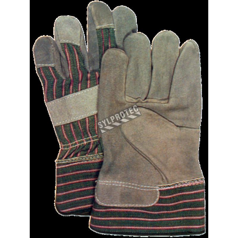 Split leather glove for women, open rubber cuffs.
