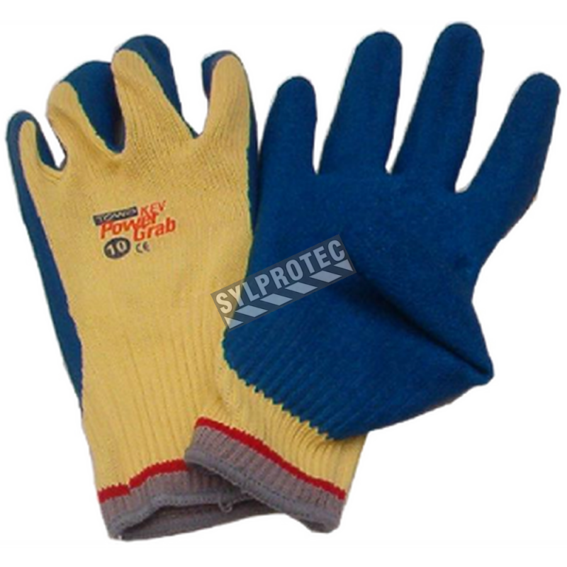 Gant Powergrab® en tricot de Kevlar en jauge 10 enduit de latex nervuré. Indice de résistance à la perforation ASTM/ANSI 5