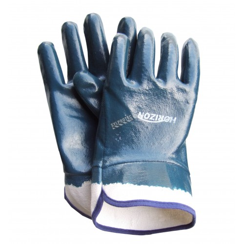 Nitrile coated cotton gloves, open cuffs