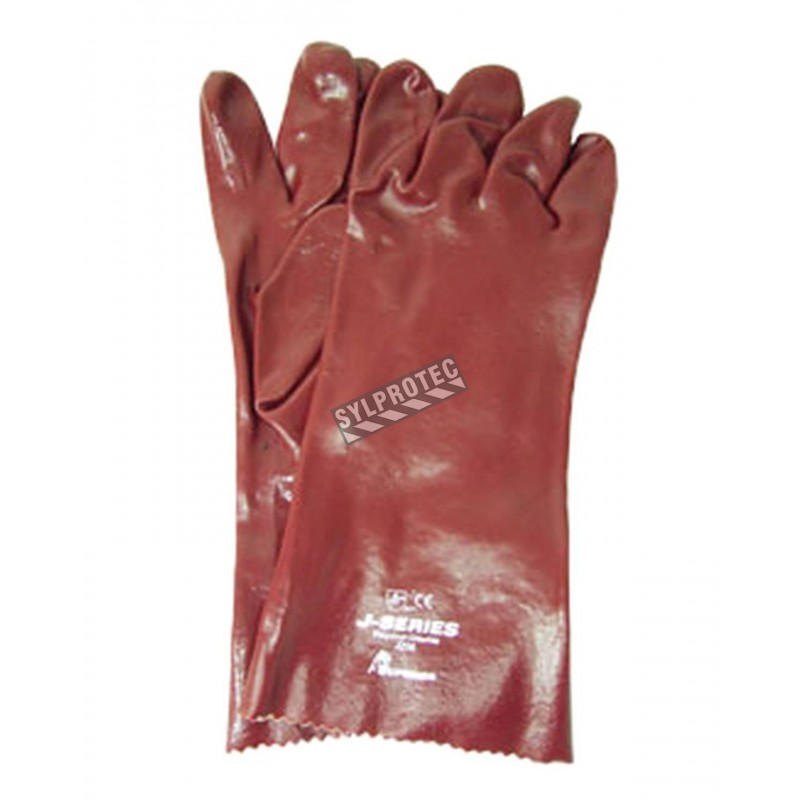 Thin Cotton Chemstop Gloves With A Thick Red Smooth Pvc