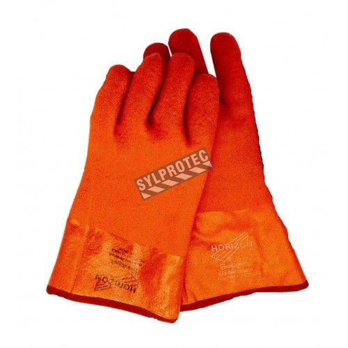 PVC gloves with rough finish, double dipped foam