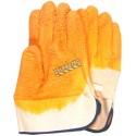 Gant de coton doublé enduit de latex à finition nervurée à la paume & aux doigts. Taille unique large (9). Vendu à la paire.