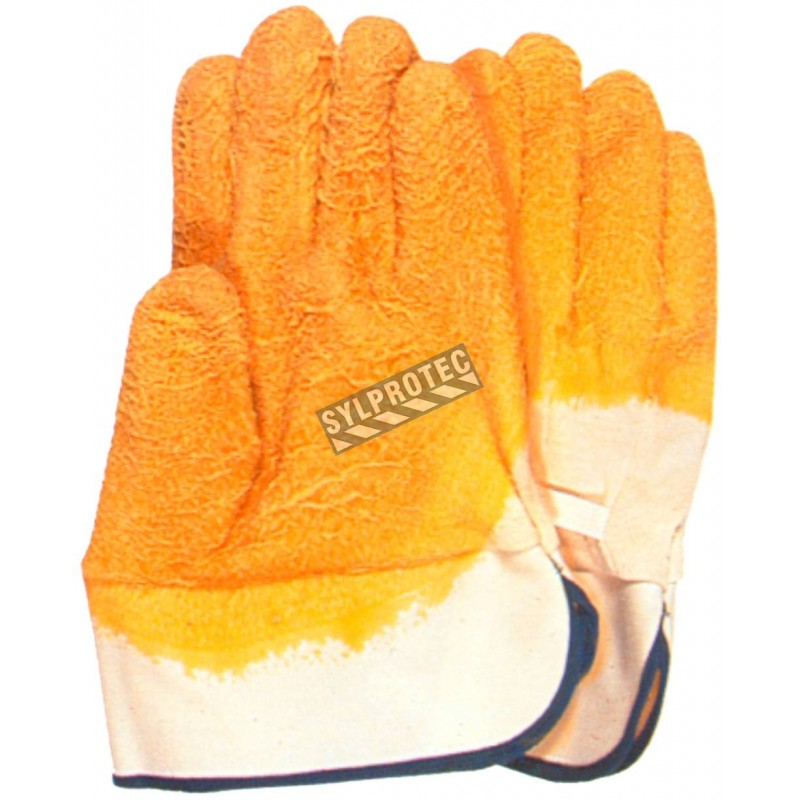 Cotton gloves with streaked coating