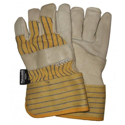 Ladies winter glove cowhide palm, thinsulate insulation