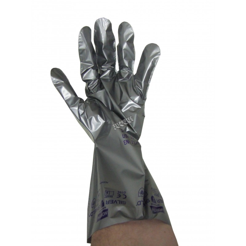 2.7 mils thick Silver Shield ambidextrous powder-free gloves for chemical protection. Sold by 10 pairs.