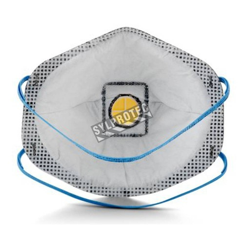 Masque de protection respiratoire P95 avec soupape de 3M. Protection contre les particules huileuses et les vapeurs organiques.