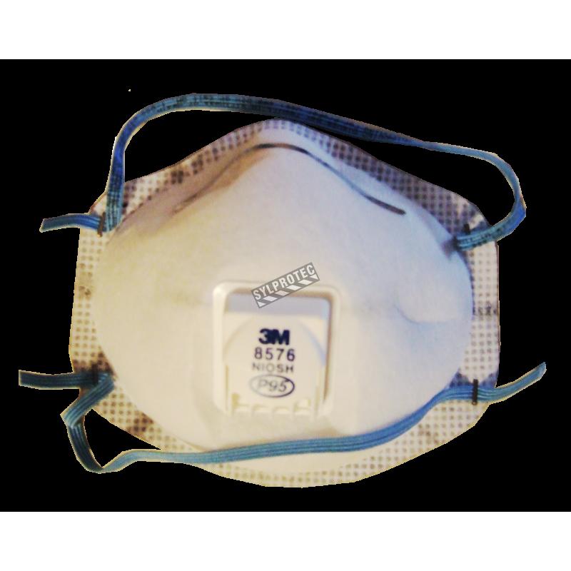Masque de protection respiratoire P95 avec soupape de 3M. Protection contre les particules huileuses et les gaz acides.