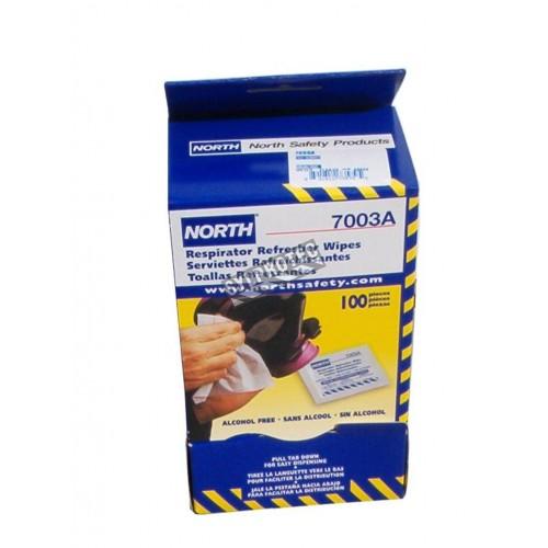 Serviette nettoyante sans alcool, de North pour masque de protection respiratoire, 5 po X 7 po, (100 par boite).
