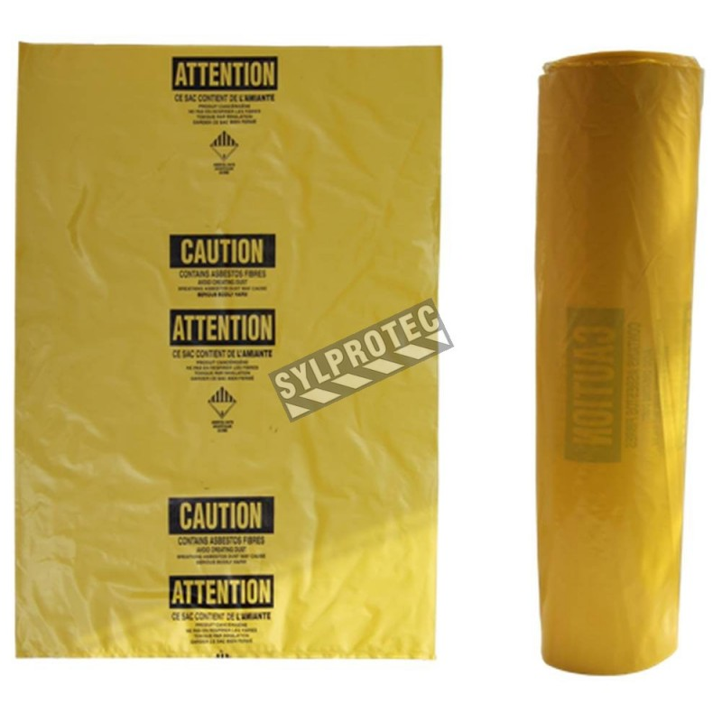 "Statutory bilingual yellow bag for asbestos waste. Allows safe transportation of hazardous waste to landfills. 3 mils, 33""x50"""