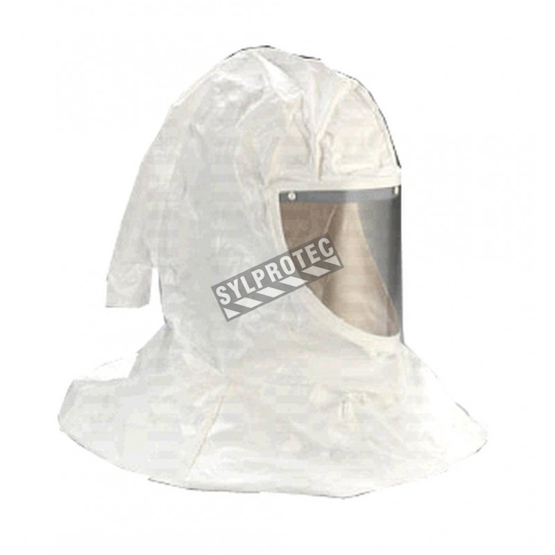 3M white Tychem QC H-series hood assembly with hat shell & faceseal for respiratory protection systems in pharmaceutical areas