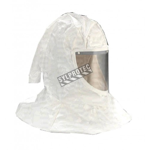 3M spare premium white Tychem QC H-series hood for respiratory protection systems in pharmaceutical facilities.