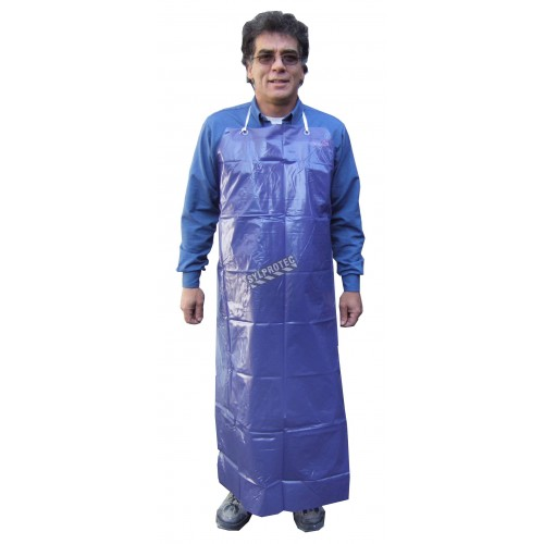 Economical blue PVC apron, 35 inches X 45 inches, 5 mils thick. Sold by dozen.