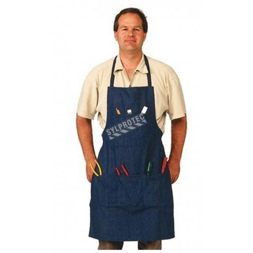 """Bib apron, Blue Denim, 3 pockets 38"""" x 28"""""""