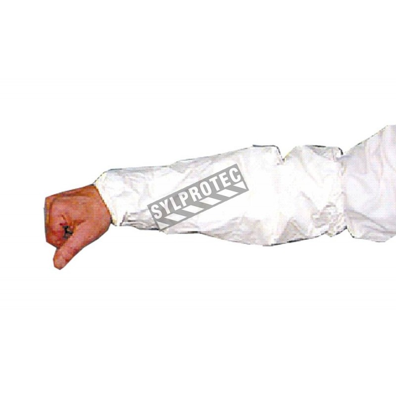 18 inch Tyvek sleeves with elastic cuffs, sold by box of 100 pairs.